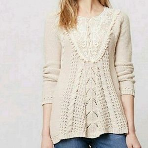 Anthropologie Angel of the North Cable Knit Sweate